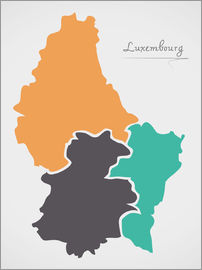 Ingo Menhard - Luxembourg map modern abstract with round shapes