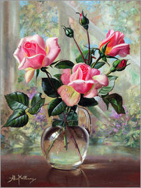 Albert Williams - Madame Butterfly Roses in a Glass Vase