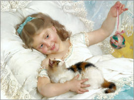 Emile Munier - Little girl with kitten