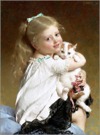 Emile Munier - Girl with Kitten