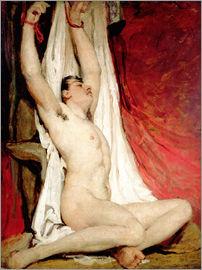 William Etty - Male Nude, with Arms Up Stretched