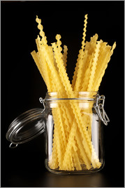 Mafaldi pasta in a glass jar