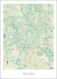 Hubert Roguski - Milan Map Blue