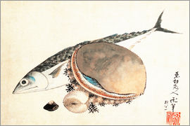 Katsushika Hokusai - Mackerel and sea shells