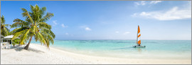 Jan Christopher Becke - Maldives beach panorama with sailboat