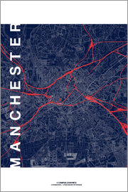 campus graphics - Manchester Map Midnight Map