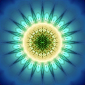 Christine Bässler - mandala blue light with Flower of Life