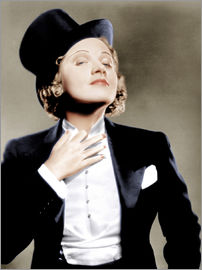 Marlene Dietrich with a suit and cylinder