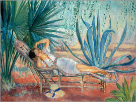 Henri Lebasque - Marthe sleeping in a deck chair in Saint-Tropez
