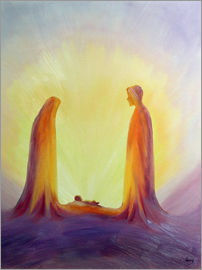 Elizabeth Wang - Mary and Joseph look with faith on the child Jesus at his Nativity, 1995