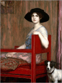 Franz von Stuck - Mary von Stuck in a red chair