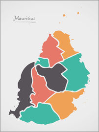 Ingo Menhard - Mauritius map modern abstract with round shapes