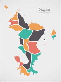 Ingo Menhard - Mayotte map modern abstract with round shapes