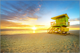 Miami Beach with lifeguard tower