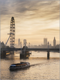 Charles Bowman - Millenium Wheel with Big Ben, London, England