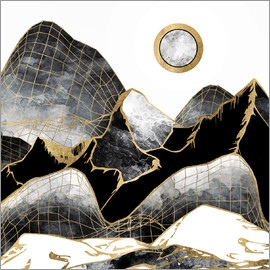 SpaceFrog Designs - Minimal Black and Gold Mountains Landscape