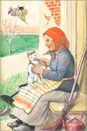 Jenny Nyström - sitting on the kitchen porch with the kitty