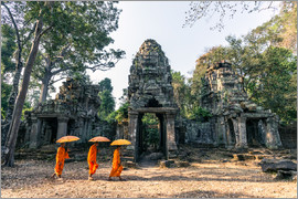 Matteo Colombo - Monks with umbrellas inside Angkor Wat temples, Cambodia