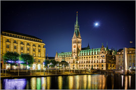 Tanja Arnold Photography - Moon over the town hall in Hamburg