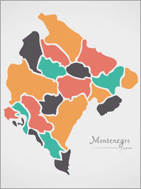 Ingo Menhard - Montenegro map modern abstract with round shapes