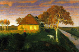Otto Modersohn - Moor cottage in the evening sun
