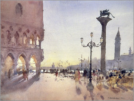 Trevor Chamberlain - Morning on the Piazzetta, Venice