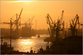 Morning light in the Hamburg harbor