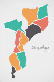 Ingo Menhard - Mozambique map modern abstract with round shapes