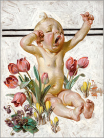 Joseph Christian Leyendecker - Tired baby in the bed of tulips