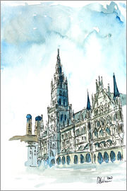 M. Bleichner - Munich City Hall Aquarell