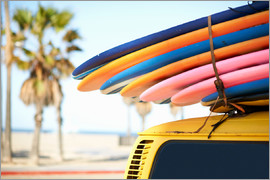 Image Source - Multi-coloured surfboards tied onto vehicle, Venice Beach, Los Angeles, USA
