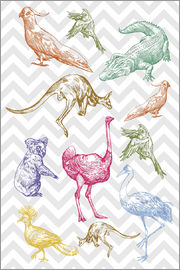 Pattern with animals and birds