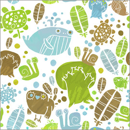 Kidz Collection - Pattern with birds whales and trees