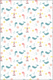 Kidz Collection - Pattern with whale and octopus