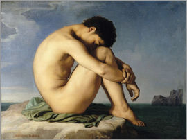 Hippolyte Flandrin - Naked Young Man Sitting by the Sea