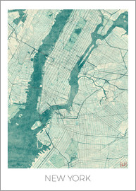 Hubert Roguski - New York Map Blue