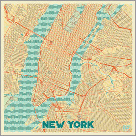 Hubert Roguski - New York Map Retro