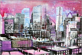 Johann Pickl - New York, Pink Cityscape