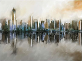 Michael artefacti - new york skyline abstract painting sepia
