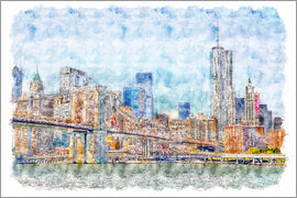 Peter Roder - New York skyline with Brooklyn Bridge
