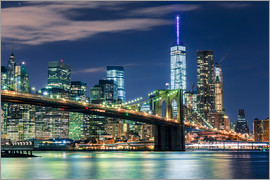 newfrontiers photography - New York Skyline with Brooklyn Bridge by Night