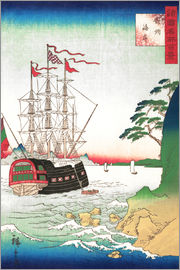 Utagawa Hiroshige - Dutch Ship at Anchor off the Coast of Tsushima