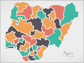 Ingo Menhard - Nigeria map modern abstract with round shapes