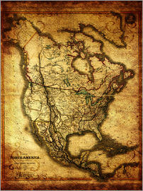 Michaels Antike Weltkarten - Northamerica America USA 1849