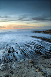 Judith Zimmerman - North America, USA, California. Sunset on rock formations with ocean at Montana de Oro State Park, C