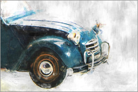 LoRo-Art - Oldtimer -2cv front,left,blue