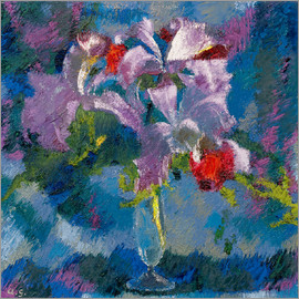 Augusto Giacometti - Orchids on a blue background