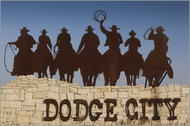 Walter Bibikow - Sign for Dodge City with cowboy silhouettes