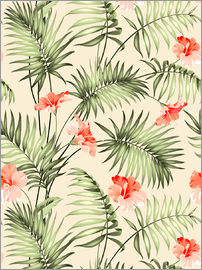 Palm trees and hibiscus