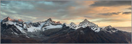 Peter Wey - Panorama from Gornergrat at sunrise  Obergabelhorn, Zinalrothorn, Weisshorn and Bietschorn mountain